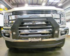 F-250-F-550 Bumper Bull Bar With Flush Mount Led Light Cutouts For 17-21 Ford F250-F-550 Wrinkle Black Hammerhead Armor