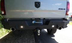 RAM Rear Bumper Flush Mount With Sensors and Exhaust Cutouts For 19-21 RAM 1500 Black Hammerhead Armor