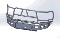 X-Series Full Brushguard Winch Front Bumper Designed to be winch capable and stand up to the punishment of on-road and off-road driving Accommodates up to four 3.25″ x 3.25″ external dimension cube after-market off-road fog lights Reinforced to allow for extra strength while keeping the bumper as light as possible Does NOT work with sensors The X-series style brushguard is made with 1.75″ x 0.120″ wall tubing The shackle mounts are a part of the mounting surface to the frame, extending through the bumper an